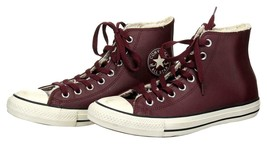 Converse All Star Unisex Maroon Leather Faux Fur Lined Sneakers High Top... - $85.31 CAD