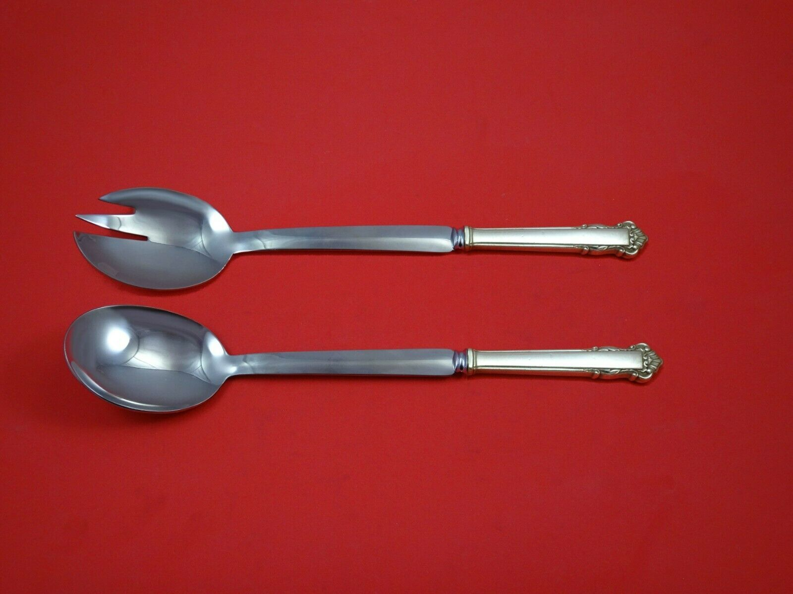 Primary image for English Shell by Lunt Sterling Silver Salad Serving Set 2pc Modern Custom Made