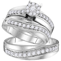 His & Hers 925 Sterling Silver 0.16 Ct Diamond Trio Ring Set Anniversary... - $178.35