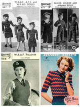 4 x Vintage Knitting Patterns – Airman, Soldier, Sailor, Women's Army WW... - $7.99