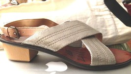 $735 New Fashionista Fave Lanvin Distressed Metallic Silver Sandals 9 1/5 39 1/2 - $280.35