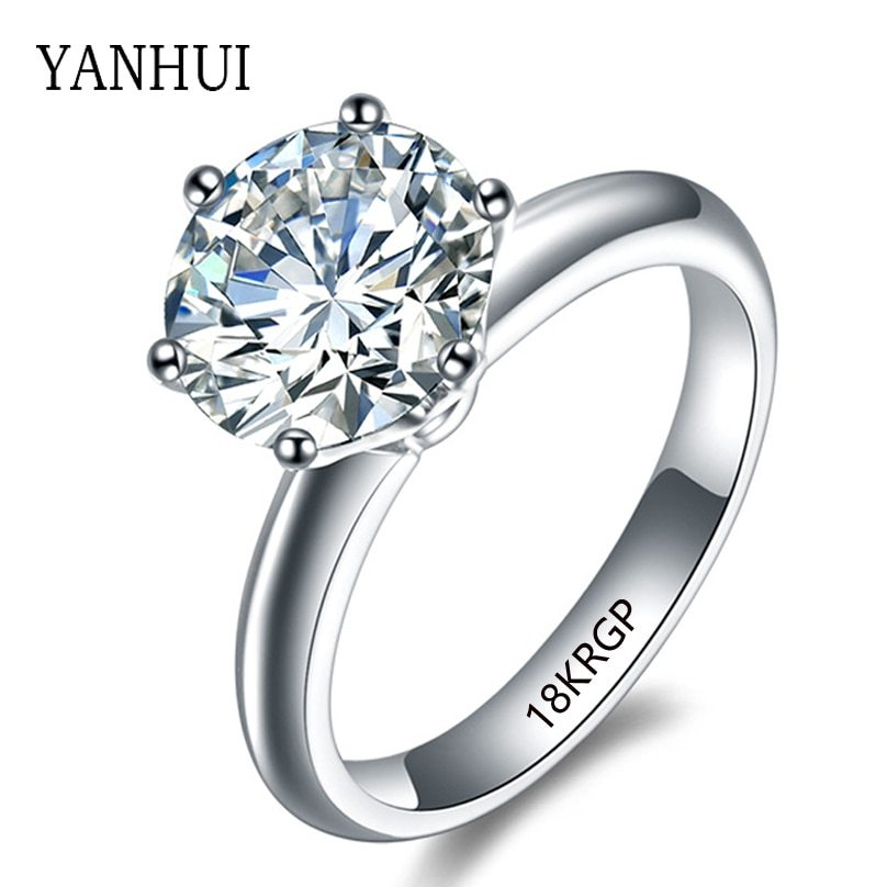 Yanhui 100 original 18krgp stamp gold rings set 8mm 2 carat diamant cz engagement rings white