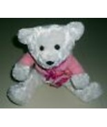 Soft White Ballerina Bear with Pink Wrap Sweater and Pink Dance Bag - $6.92