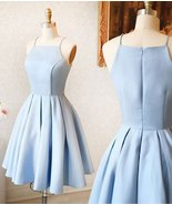 Short Homecoming Dresses Light Blue Mini Prom Dresses Satin A Line Eveni... - £68.41 GBP