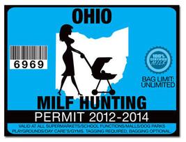 Milf hunting permit funny license decal sticker jdm drift for Kansas lifetime fishing license