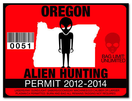 Alien hunting permit funny license decal roswell ufo for Oregon fishing license price