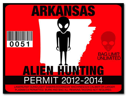 Alien hunting permit funny license decal roswell ufo for Arkansas fishing license