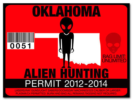 Alien hunting permit funny license decal roswell ufo for Oklahoma fishing license online