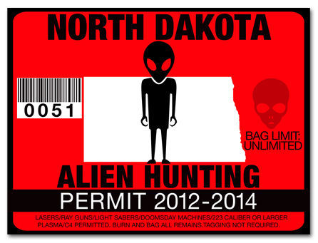 Alien Hunting Permit Funny License Decal Roswell Martian
