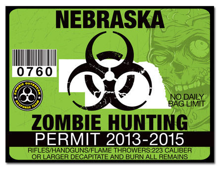 Zombie hunting permit funny license decal sticker drift for Nebraska fishing license