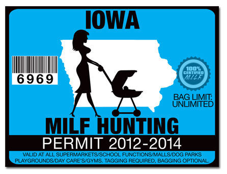 Milf hunting permit funny license decal sticker datsunjdm for Iowa fishing license online