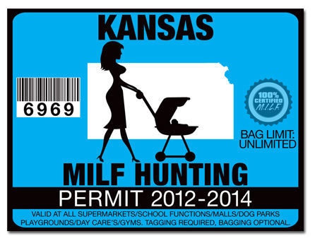 Milf hunting permit funny license decal sticker jdm drift for Kansas out of state fishing license