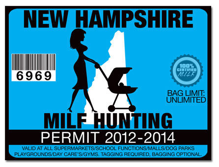 Milf hunting permit funny license decal sticker jdm drift for New hampshire fishing license