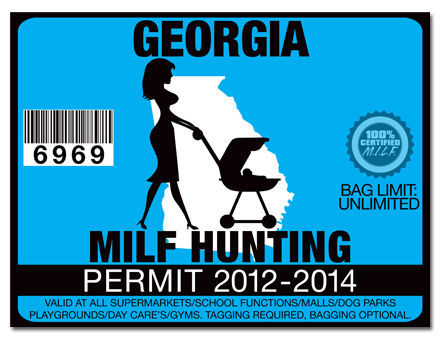 Milf hunting permit funny license decal sticker jdm drift for Ga fishing license