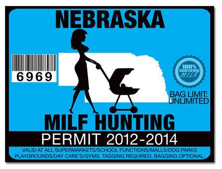 Milf hunting permit funny license decal sticker jdm drift for Nebraska fishing license