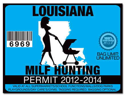 Milf Hunting Permit Funny License Decal Sticker Jdm Drift