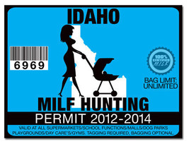 MILF Hunting Permit Funny License Decal Sticker... - $3.96