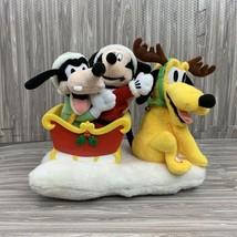 Gemmy Disney Musical Animated Christmas Sleigh Ride Mickey Goofy Pluto - $29.99