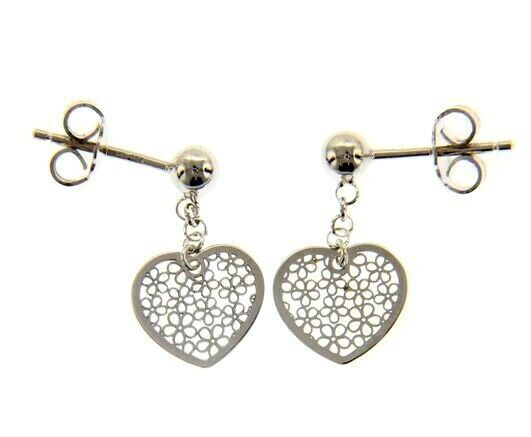 18K WHITE GOLD PENDANT EARRINGS, FLAT HEART WITH FLOWERS, 20mm, MADE IN ITALY