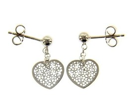 18K WHITE GOLD PENDANT EARRINGS, FLAT HEART WITH FLOWERS, 20mm, MADE IN ITALY image 1