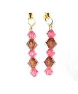 Swarovski crystal indian pink and smoked topaz ... - $12.00