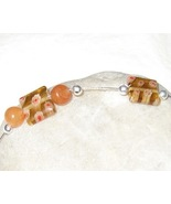 Orange and Silver millifiori bracelet - $7.00