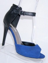 Steve Madden 'Shiri' blue peep toe suede snake print buckle strap heel shoes 8.5 - $17.86