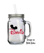 Personalized Disney Mickey Mouse Ears 16oz Glass Mason Jar Mug with Lid ... - $16.99