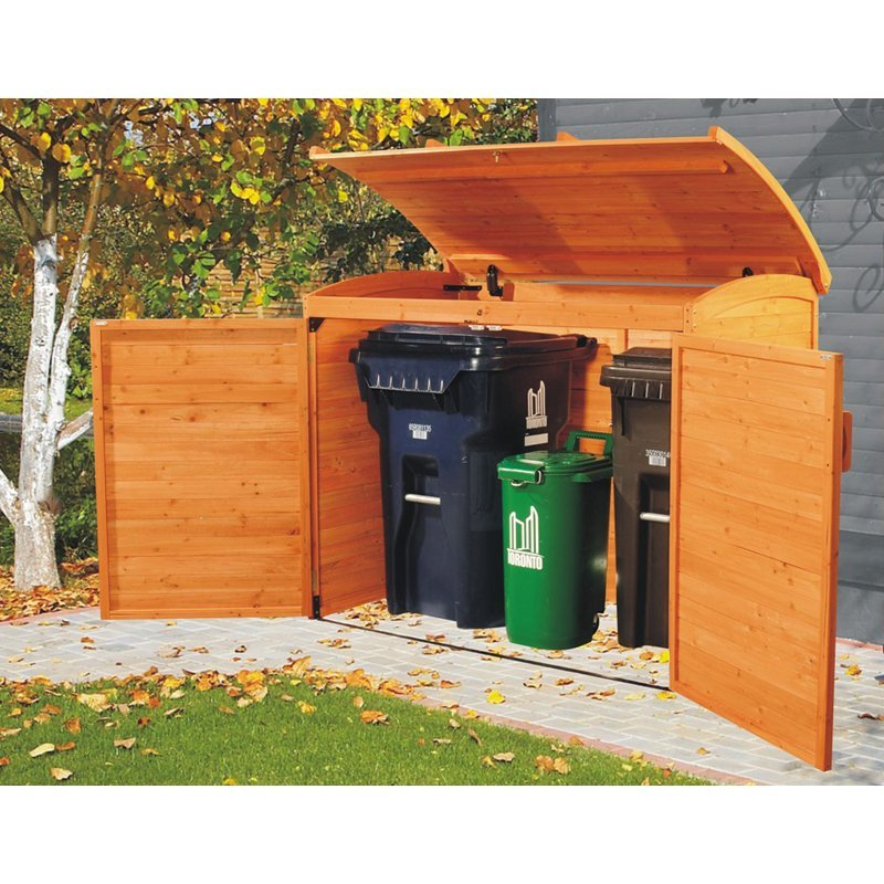 Leisure season wooden outdoor trash recycle bin storage for Outdoor wood storage sheds