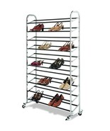 50 Pair Free Standing 10 Tier Shoe Tower Rack Chrome Metal Shoe Rack  - $29.95