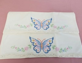 Vintage Set of Pillowcases Cross Stitch Butterflies and Flowers Crochet ... - $18.79