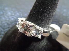 Princess Cut Swarovski Zirconia Crystal Sterling Silver Trilogy Ring NIB... - $71.27