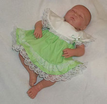 Preemie & Newborn Girls Mint Cotton Lace Dress and Diaper Cover