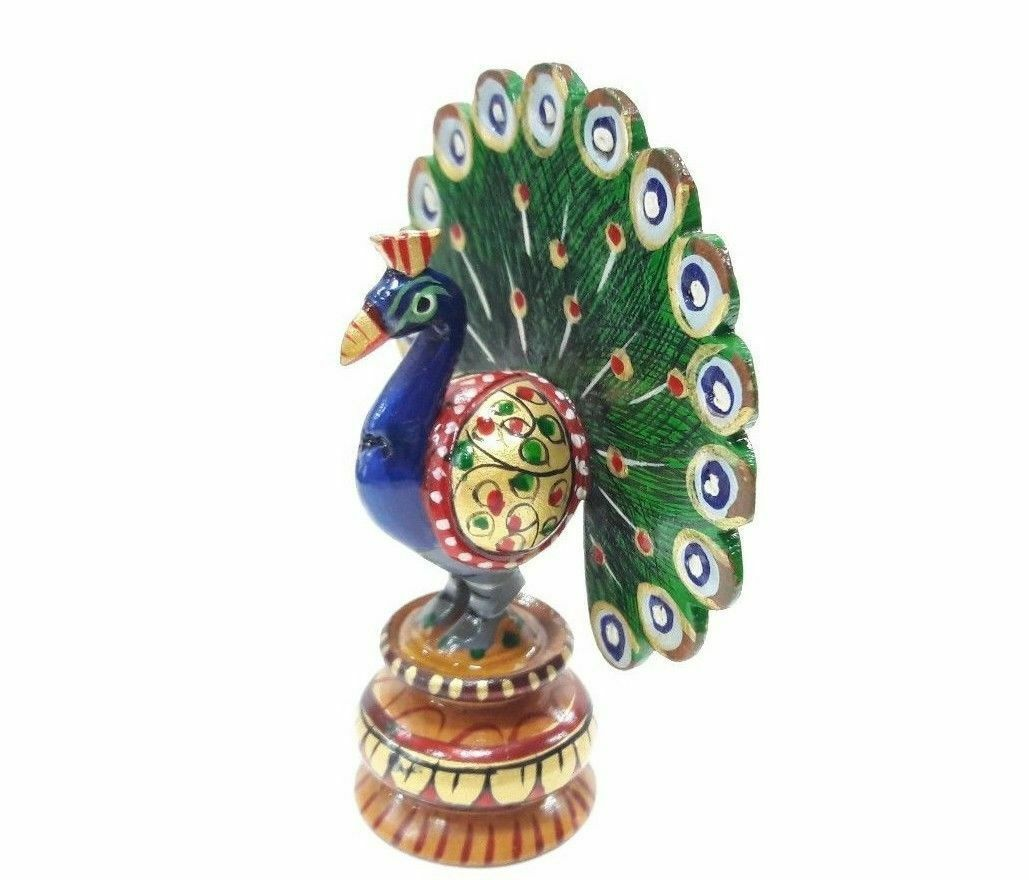WOODEN Peacock Sculpture Figurine Handmade Decorative Peacock Showpiece