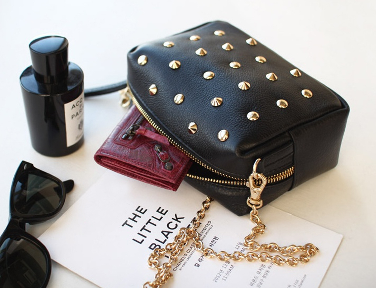 Chic Studded Black Little Purse. Black Genuine Leather Handbag.Studs Clutch Bag