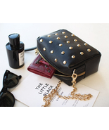 Chic Studded Black Little Purse. Black Genuine Leather Handbag.Studs Clu... - $119.90