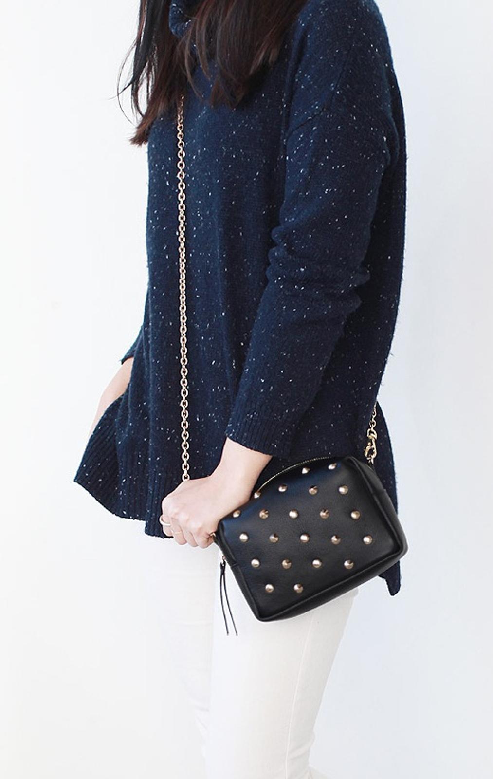 Chic Studded Black Little Purse. Black Genuine Leather Handbag.Studs Clutch Bag