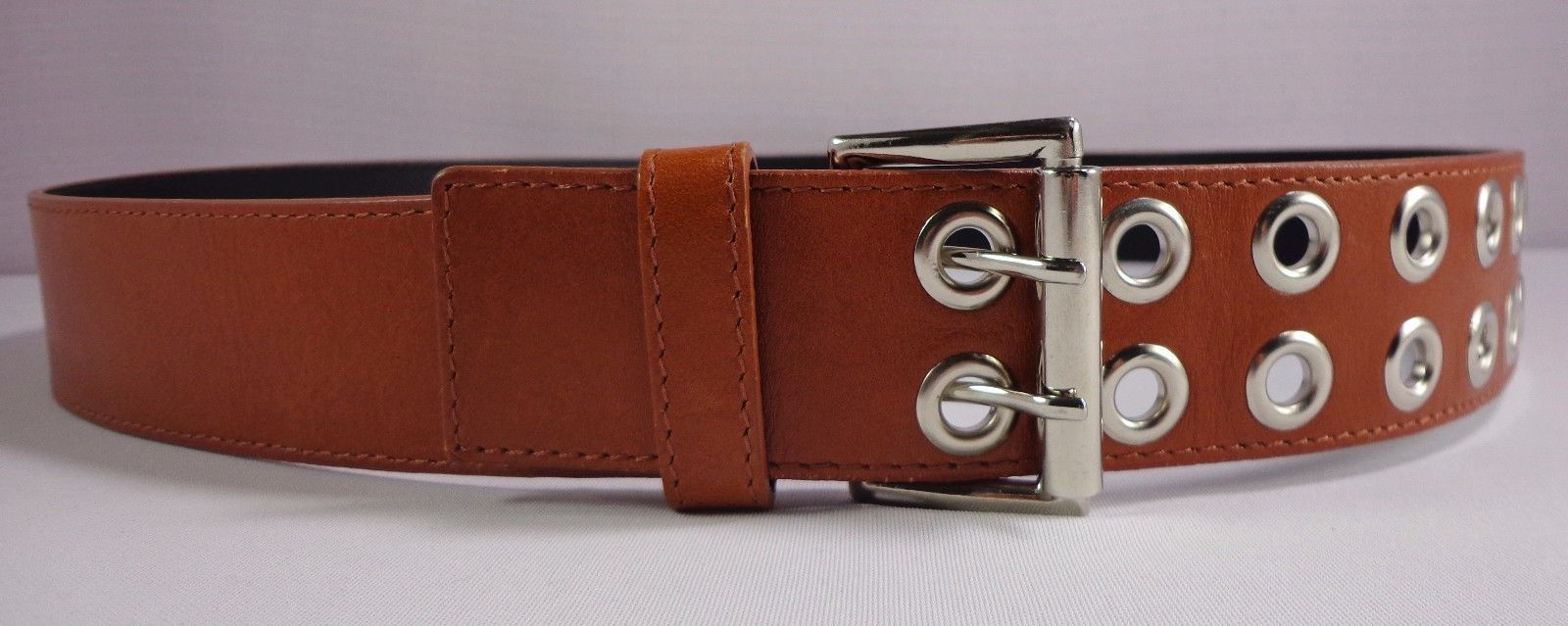 Banana Republic Womens Brown Leather Belt Double Prong Size L Large