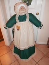 Vacuum Cover Soft Sculpture Grandma -  Hunter Green/Cream Osnaburg Apron/Hat - $85.00