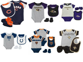 NFL Baby Infant Boy's Bodysuit Bib & Bootie 3-Piece Set Licensed NEW