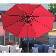9 ft. Round Next Gen Solar Lighted Market Patio Umbrella in Scarlet - $251.97