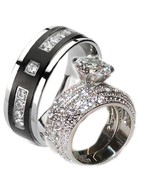 His Hers 3.2ct Cz Wedding Ring Set Stainless St... - $39.99