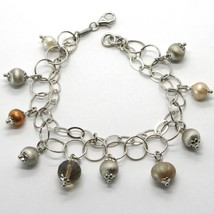925 STERLING SILVER DOUBLE BRACELET WITH SMOKY QUARTZ WORKED SPHERES AND PEARLS image 1
