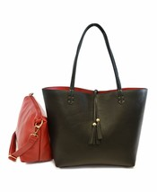 Women's Classic 2-in-1 Vegan Leather Purse Two Toned Reversible Tote Handbag image 2