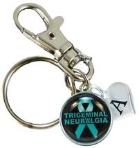 Custom Trigeminal Neuralgia Awareness Teal Ribbon Silver Key Chain Initial Charm - $10.22