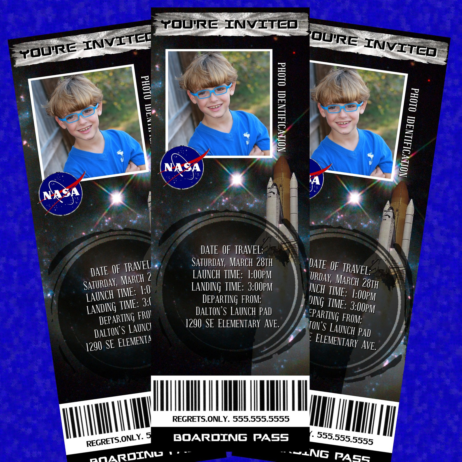 Space themed invitation birthday tickets outerspace for Space themed stationery
