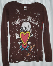 Ed Hardy by Christian Audigier Long Sleeve T-Shirt XS Love Kills Fitted ... - $14.80