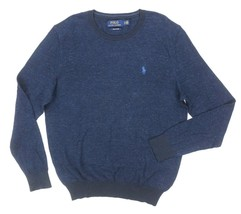 NEW POLO RALPH LAUREN NAVY TEXTURED KNIT PIMA COTTON CREWNECK SWEATER SI... - $49.49