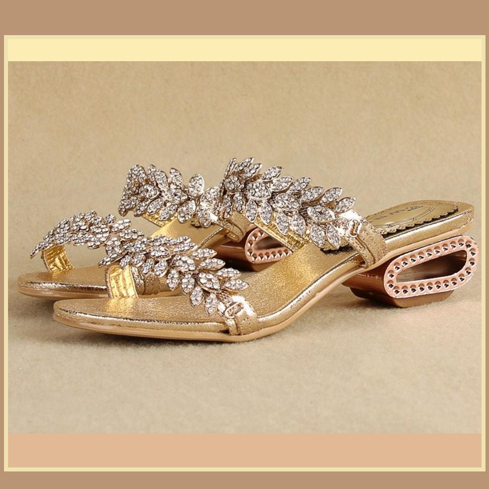 Venusian Gold Leaf Diamond Rhinestone Sheepskin Leather Sandal Bridal Slippers