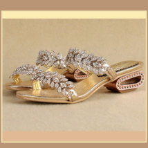 Venusian Gold Leaf Diamond Rhinestone Sheepskin Leather Sandal Bridal Slippers